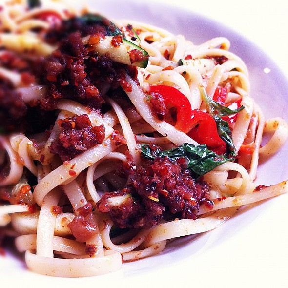 spicy aglio olio linguine with beef bacon @ Dome Cafe
