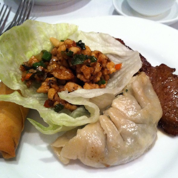 Chicken With Pinenuts, Barbequed Beef, Spring Roll, Steam Veggie Dumpling