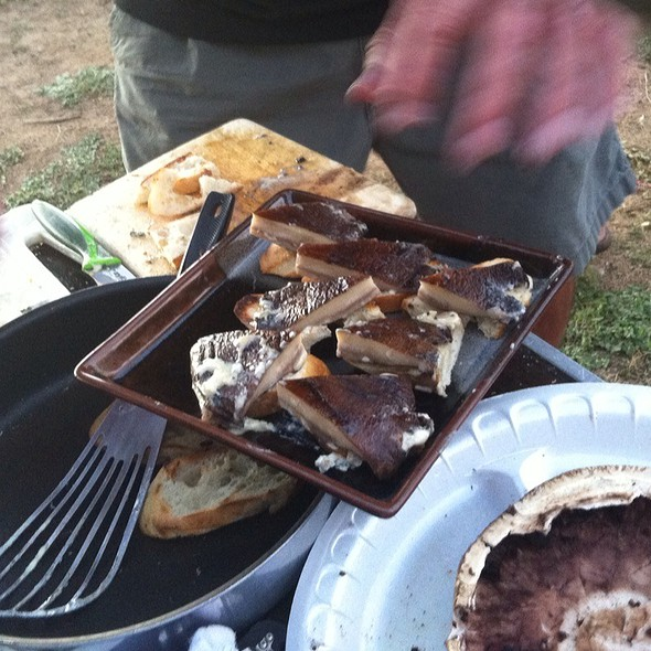 Cast Iron Skillet Portabella With Herbed Butter & Melted Grilled Cheeses On Top @ Sansousei Beach Bbq