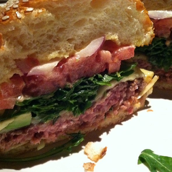 California burger with monterey jack,arugula,red onion and avocado @ Hillstone Restaurant Group Inc