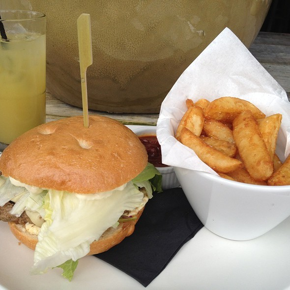 beef burger and chips @ Armchair Collective