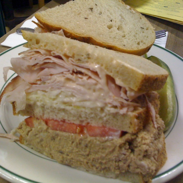 Triple Decker Turkey, chopped liver, and coleslaw on Rye @ Barney Greengrass
