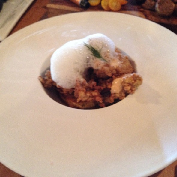 Smoked Cornmeal Encrusted Louisiana Oysters Andouille Spoon Bread, Manchego Foam @ Root