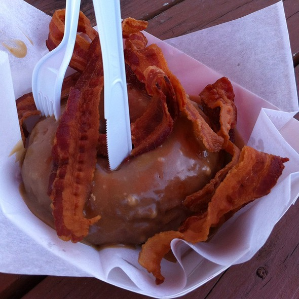 The Flying Pig Donut: Bacon with Maple Icing @ Gourdough's Donuts