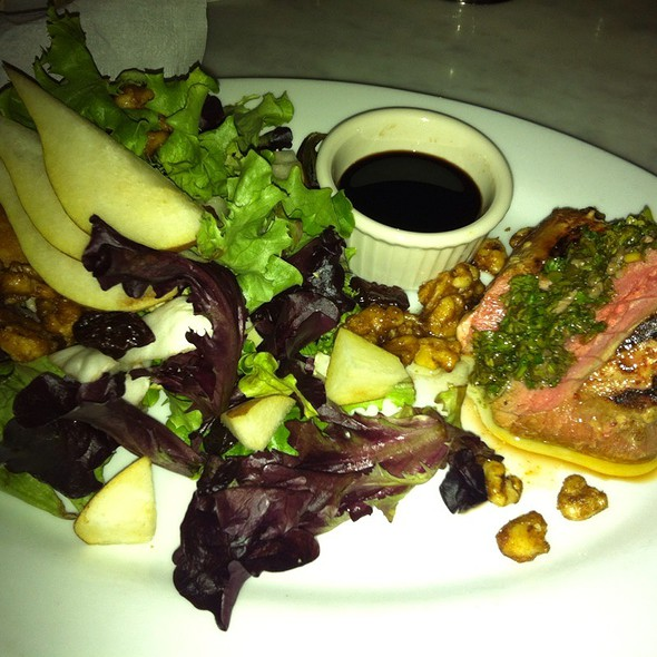 Grilled Yellowfin Tuna With A Walnut, Pear And Dried Cherry Salad Drizzled In Balsamic Vinegrette @ Peacock Garden Cafe