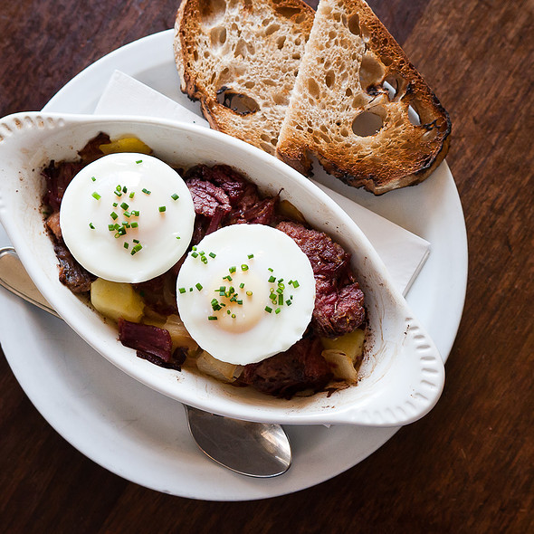 House-cured corned beef hash and poached eggs