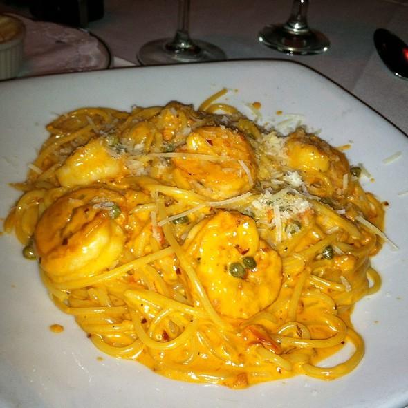 Spaghetti Casa W/ Shrimp, Vodka Sauce & Capera @ guido's restaurant