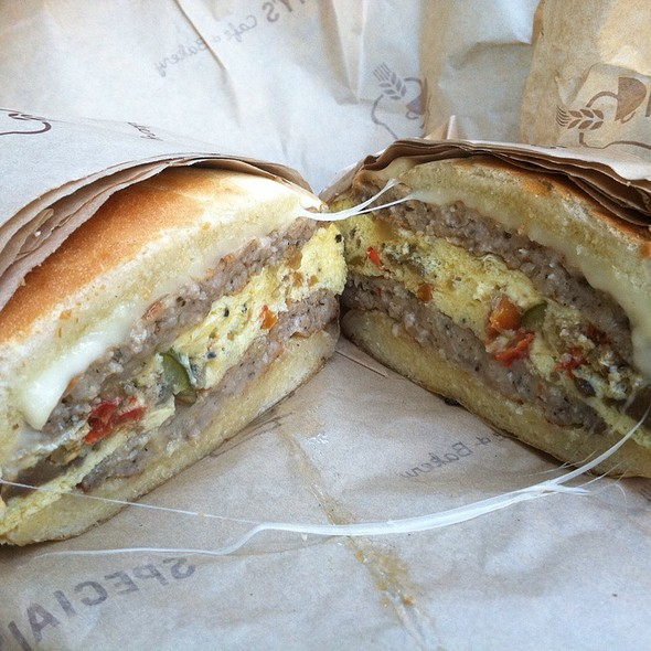 Veggie, Egg, Cheese & Sausage Breakfast Sandwich @ Specialty's Cafe & Bakery