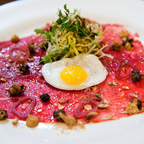 Buffalo Carpaccio with Quail Egg - Artisan, Lafayette, CA
