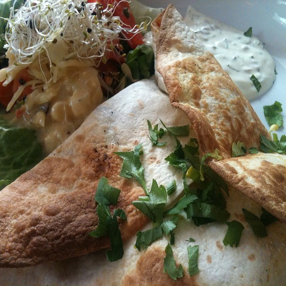 Grilled Mediterranean Tortilla Filled With Feta Cheese & Greek Vegetables Served With A Herb Yoghurt Sauce  @ P'aa