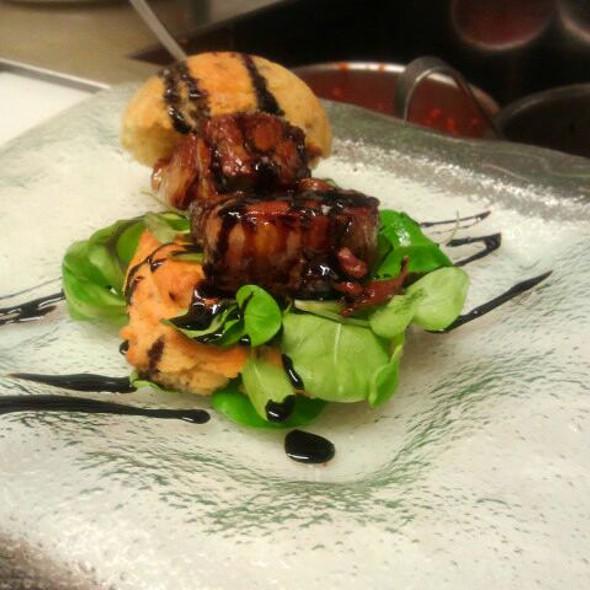 Seared Duck Foie Gras with Bacon Cornbread Muffin @ Louie's Backyard