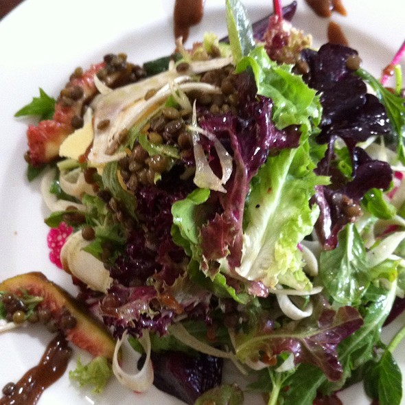 Salad Of Glazed Beetroot And Figs, Shaved Fennel, Puy Lentils And Organic Leaves Served With Pinenut Parmesan, Balsamic Reduction And Walnut Oil Emulsion @ From Earth And Water