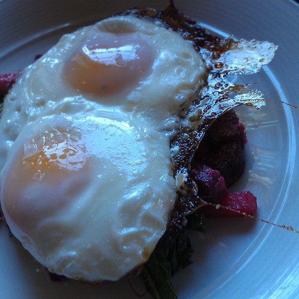 beets arugala goat cheese and two eggs @ Roebling Tea Room