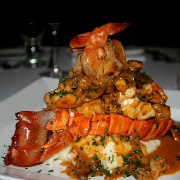 Brazillian Lobster Tail With Mushroom & Shrimp Topped With A Mornay Sauce - Vittorio's Restaurant & Wine Bar, Amityville, NY