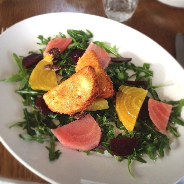 Salad Of Candied Beetroot, Spiced Pecans And Goats Cheese Fritters With Citrus Dressing - Ashmolean Rooftop Restaurant, Oxford, Oxfordshire