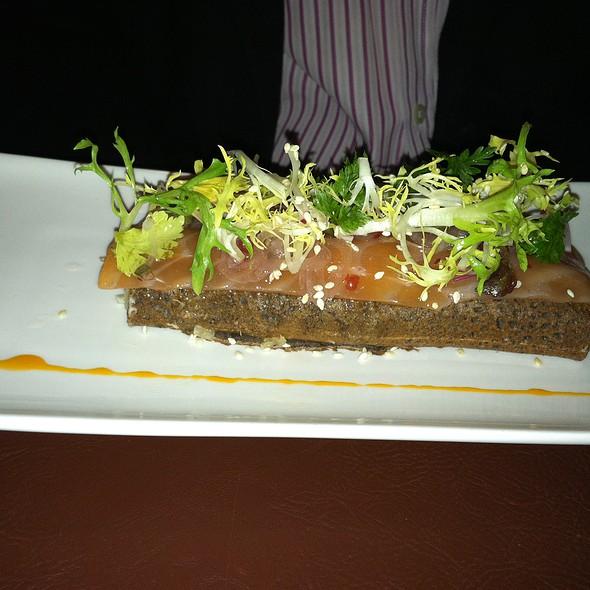 BUCKWHEAT CREPES, House Smoked Salmon horseradish crème, shallots chives, radish @ Bar Breton