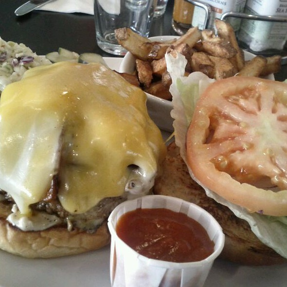 Bacon Cheeseburger (cheddar & swiss) w/fries & coleslaw @ Dick's Kitchen