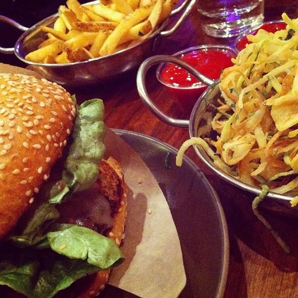 bison burger and fries @ Roam Artisan Burgers