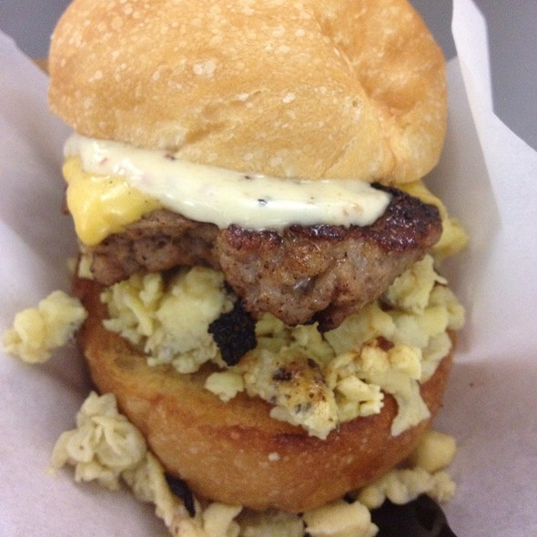 Sausage, Egg And Cheese Sandwich @ Mini Burger Truck