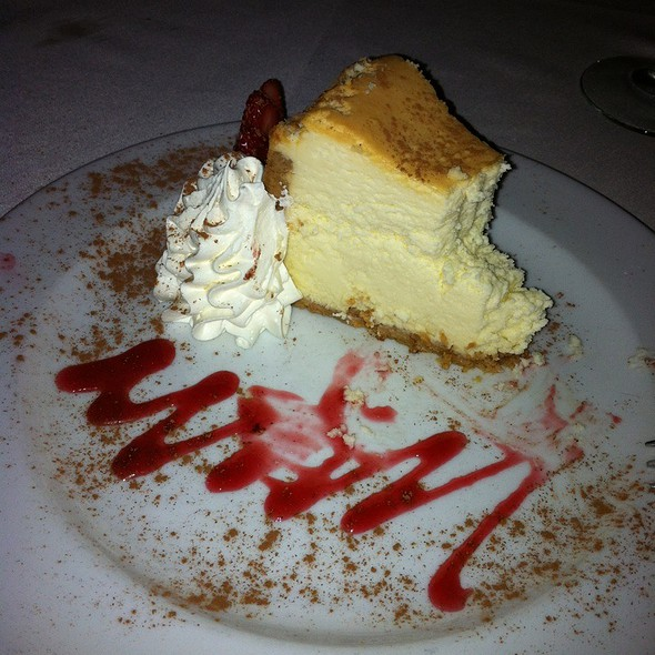 New York Cheesecake With Raspberry Sauce - Malio's Prime, Tampa, FL