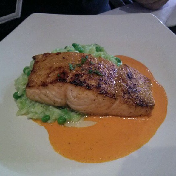 broiled Salmon With Red Bell Pepper Sauce over Sweet Pea Risotto @ Wells Fargo Center