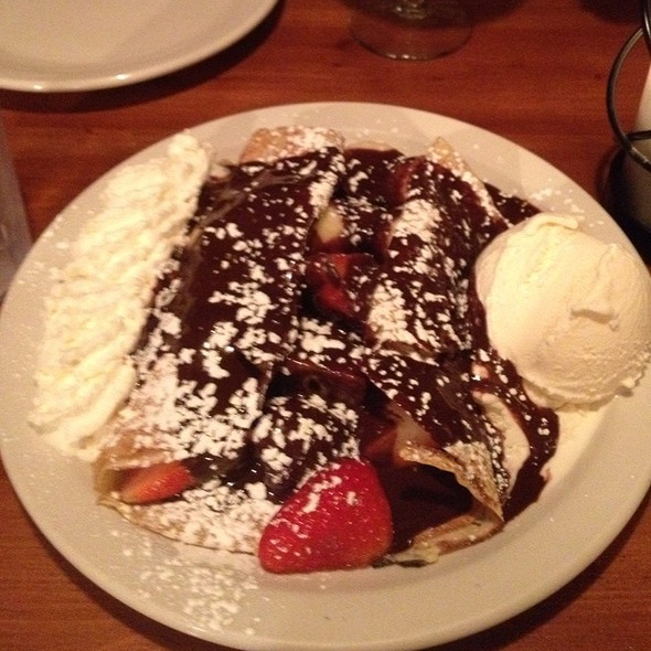 Crepe With Strawberries, Nutella, And Vanilla Ice Cream @ Crêperie Chez Suzette