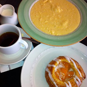 Cheddar Grits And Peach Danish