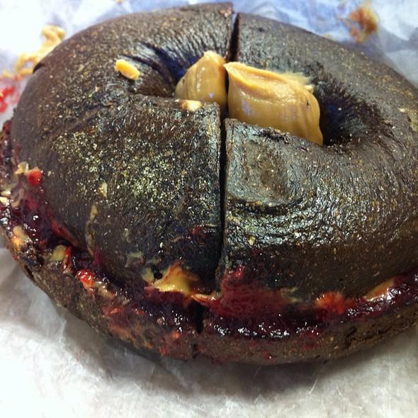 Peanut Butter & Jelly On A Pumpernickle Bagel @ Bagel Nosh
