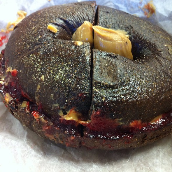 Peanut Butter & Jelly On A Pumpernickle Bagel @ Bagel Nosh