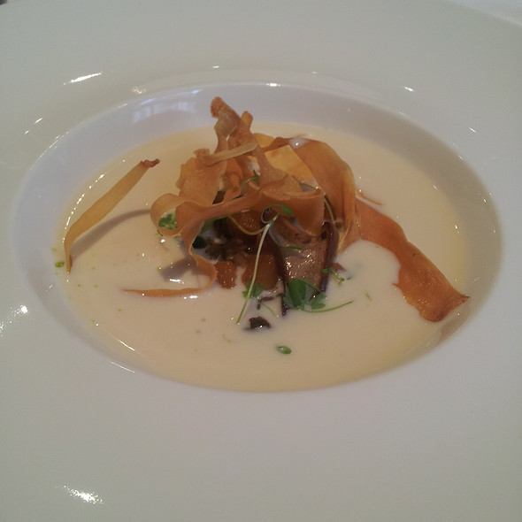 Parsnip soup with parsnip crisps at Roux at Parliament Square in ...