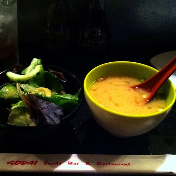 Miso Soup and Salad @ Godai Sushi & Japanese Restaurant