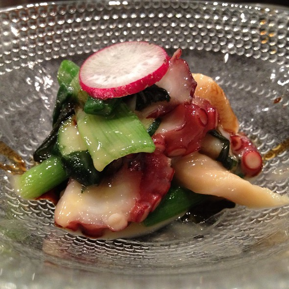 Omakase (Tako, Mirugai, Green Onion, Cucumber, Miso Mustard, Aged Apple Balsamic Vinegar, Fresh Nori @ Hana Japanese Restaurant