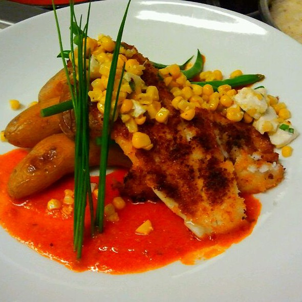 Pan Seared Hogfish w/ Spanish Romesco And Sweet Corn Mozzerella Relish @ Louie's Backyard