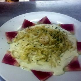 Shrimp Fettucine Alfredo (Garnished With A Watermelon-Radish)