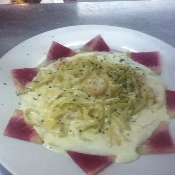 Shrimp Fettucine Alfredo (Garnished With A Watermelon-Radish) - Mikey's Grill, Birmingham, AL