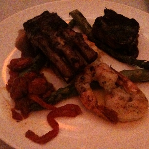 Mixed Grill: Garlic Shrimp, 4 Lamb Chops, Filet Mignon, Asparagus And Potatoes Au Gratin.  - KRES CHOPHOUSE, Orlando, FL