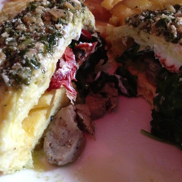 Duck Sausage Goat Cheese Spinach Omelette @ Frank Restaurant