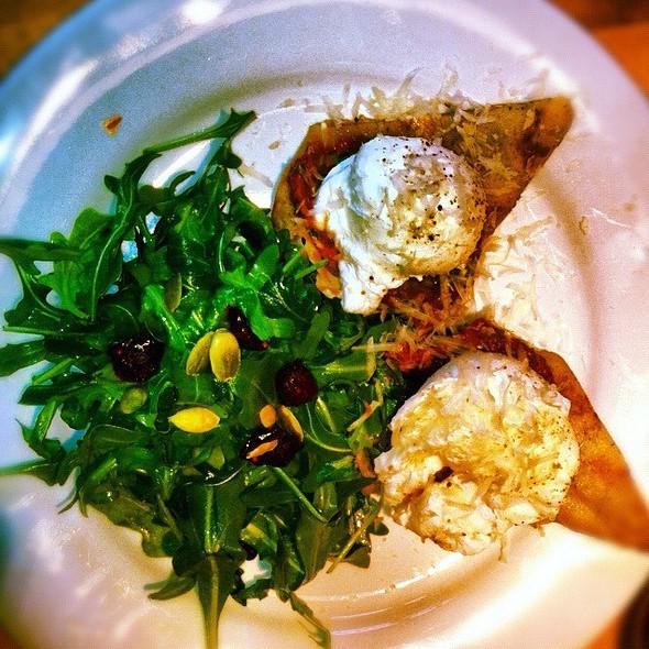 Poached Eggs On Sun-Dried Tomato Crepe @ Che Baba Yoga & Cantina