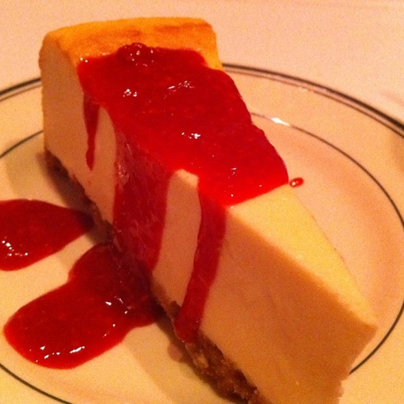 New York Cheesecake With Raspberry Sauce - Red Tracton's, Solana Beach, CA