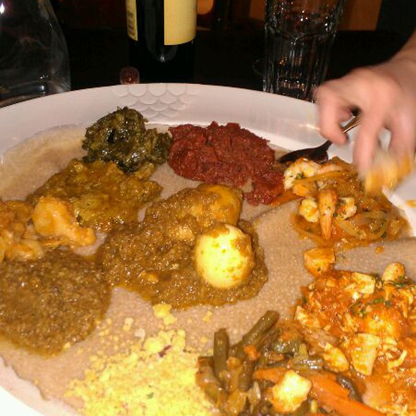 Mesob Dinner Sampler - Mesob Ethiopian Restaurant, Montclair, NJ
