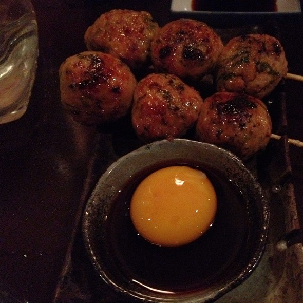 Tsukune: Chicken Meatballs With Raw Egg Sauce @ chotto