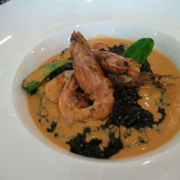Shrimp with Sqid Ink Risotto @ Cafe des Arts