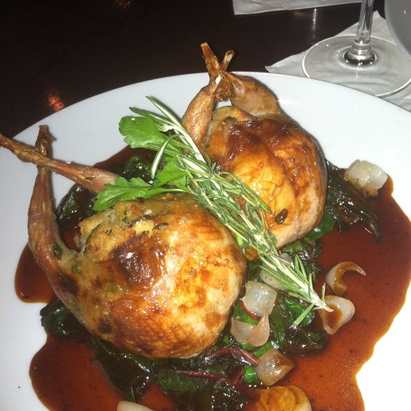 Honey Glazed Quail over Spinach with Roasted winter vegetables @ Koberl At Blue