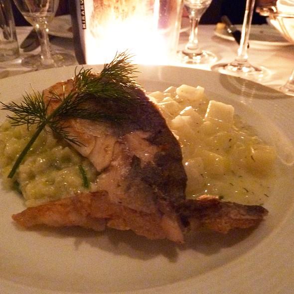 Grilled salmon on a bed of creamed kohlrabi and käsespätzle @ Hotel Miramonte