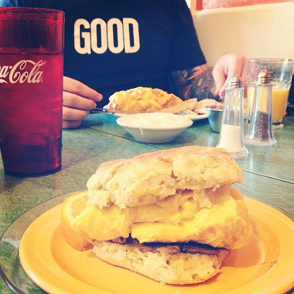 soysage, egg & cheese biscuit at my fave breakfast place! @ Melanie's