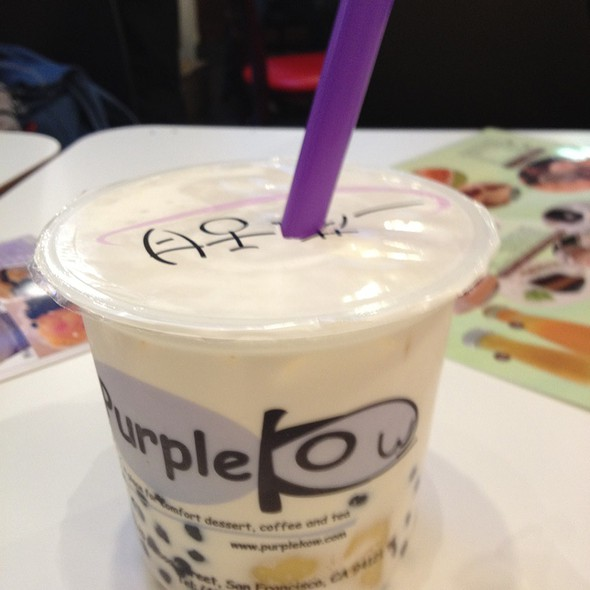 Iced Milk With Pudding And Boba @ Purple Kow