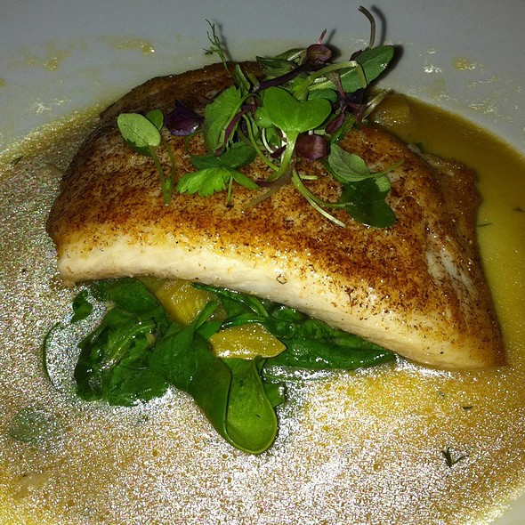 Local Halibut Wih Baby Spinach, Beets And Artichoke Hearts In Champagne Sauce - The Roost at LA Farm, Santa Monica, CA