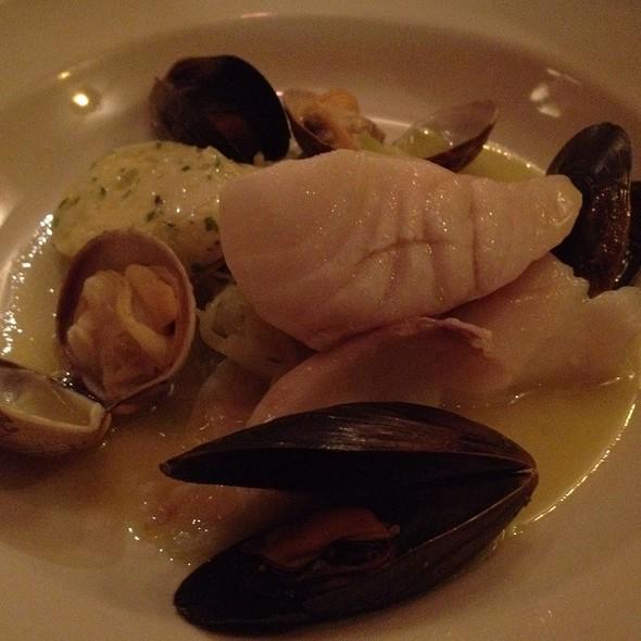 Fish And Shellfish Sauerkraut With Smoked Cod And Scallop Sausage @ Chez Panisse