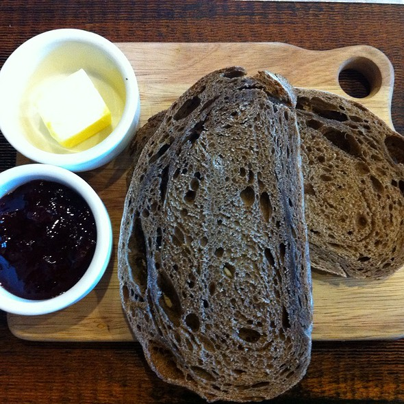 Brown Sourdough Toast With Butter And Organic Strawberry Jam @ Project 8 Cafe