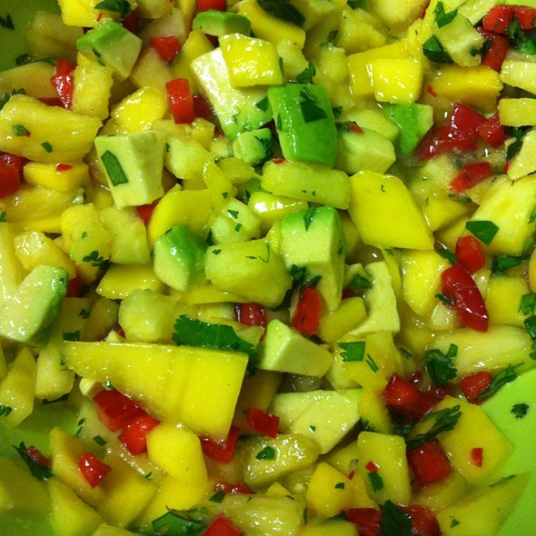 Homemade Pineaple Mango Avocado Salsa @ Home